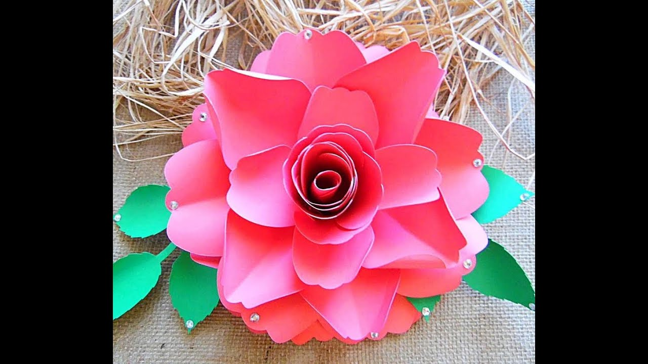 Large paper flower scarlett rose style youtube mightylinksfo