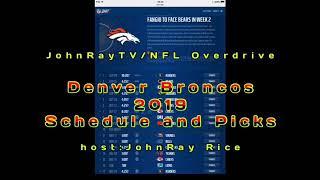 NFL Overdrive's 2019 Denver Broncos Schedule/Predictions