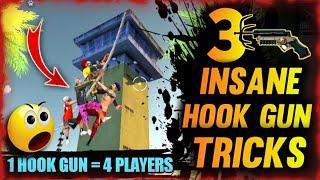 3 SECRET HOOK GUN TRICKS | TIPS AND TRICKS IN FREE FIRE
