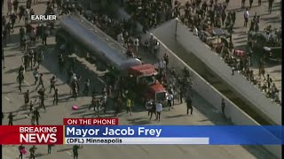 Minneapolis Mayor Jacob Frey Addresses I-35W Protest, Semi-Truck Incident