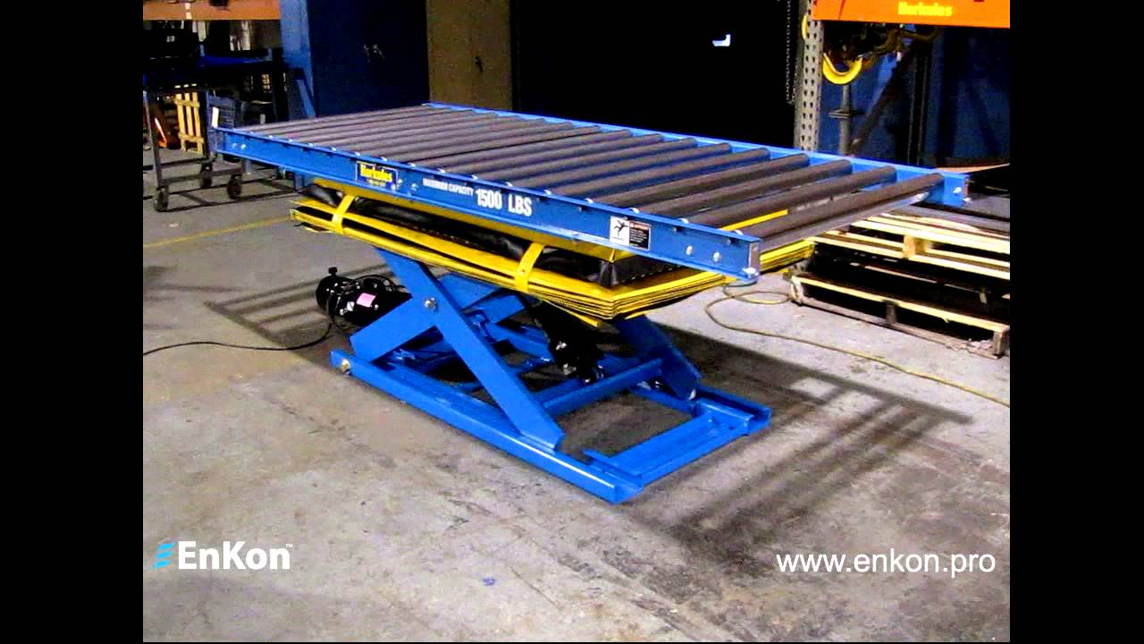 Enkon Hydraulic Scissor Lift With Roller Conveyor Youtube