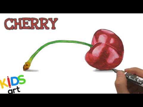 How to draw a Cherry 🍒coloring and drawing pages for kids, toddlers - Kids Art
