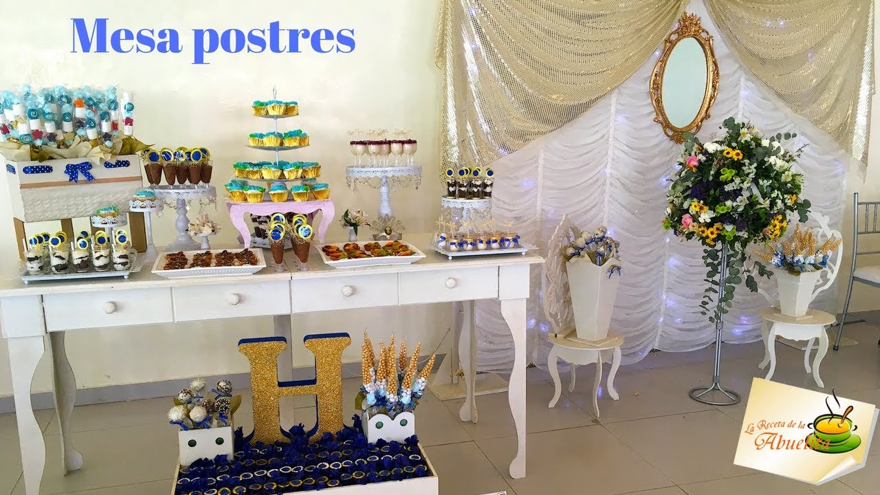 Mesa de postres y dulces para xv a os youtube for Ideas para decorar mesa de dulces