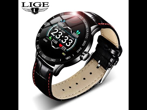LIGE 2019 New Leather Smart Watch Men Leather Smart Watch Sport For IPhone Heart Rate Blood Pressure