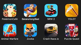 Pokemon Cafe,Banana Kong Blast,Smashy Road Wanted 2,Yolo,Animal Warfare,Zooba,Crash Race.io