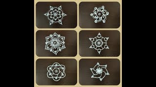 SMALL, SIMPLE & EASY RANGOLI DESIGNS/Kolam designs with 5 x 3 dots/5 dots easy rangoli/Quick rangoli