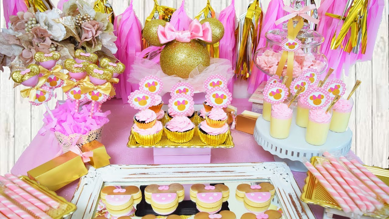 Ideas Mesa De Postres Minnie Mouse Rosa Y Dorado