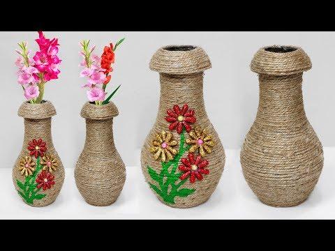 Jute flower vase making // Easy flower vase making
