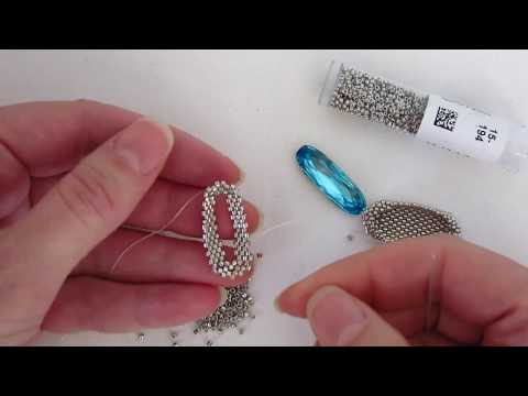 Beadweaving Tutorial: Bezel for a Long Oval Swarovski Crystal Rhinestone
