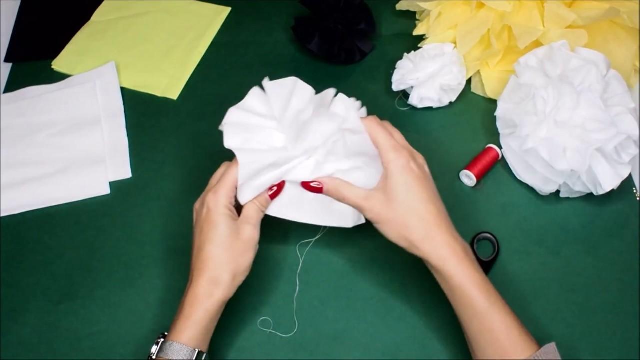pompoms aus servietten basteln diy anleitung ponpons partydeko youtube. Black Bedroom Furniture Sets. Home Design Ideas