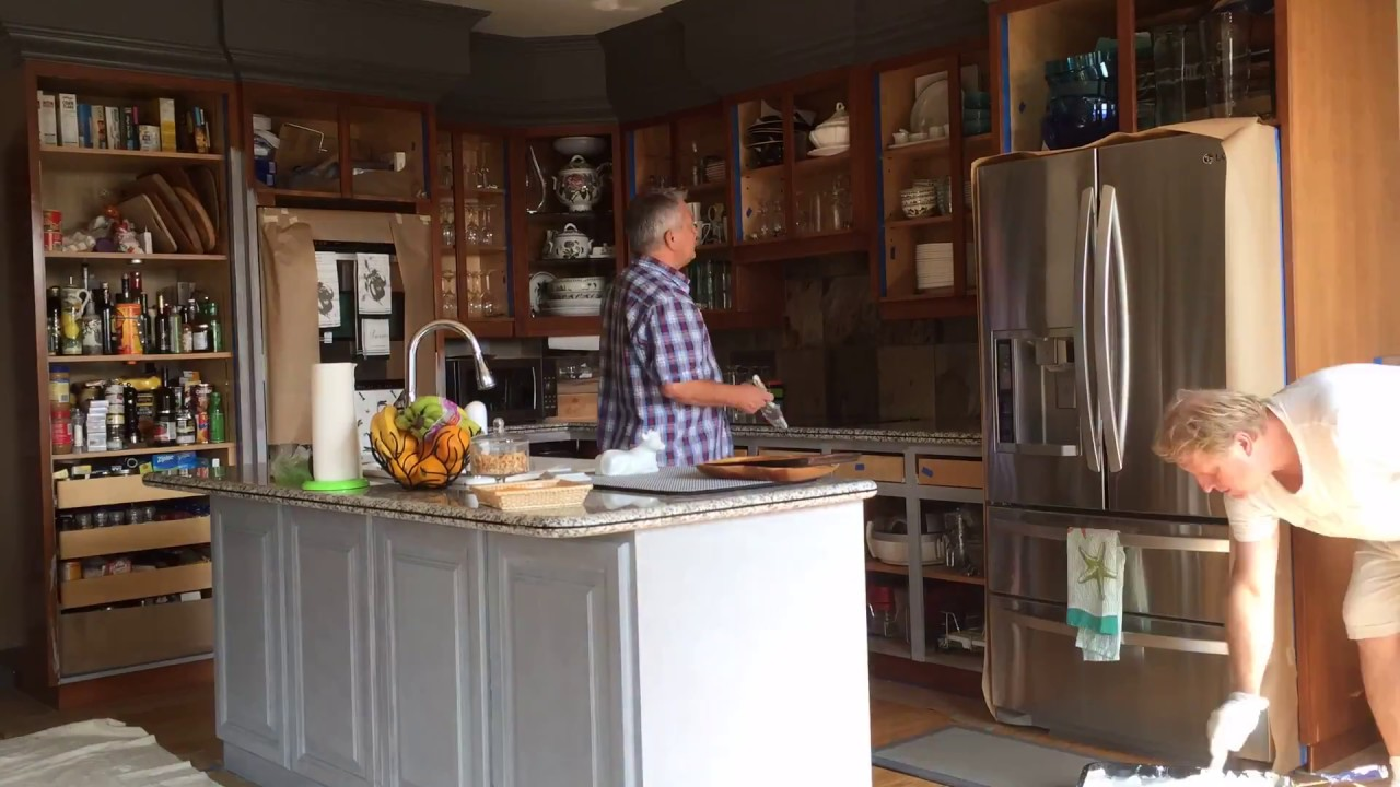 Diy Painting Kitchen Cabinets Benjamin Moore Paint Part1 Youtube
