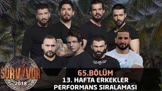 13. Hafta Performans Sıralaması Erkekler  | 65. Bölüm | Survivor 2018
