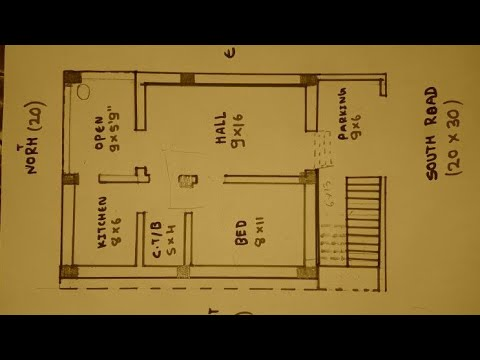 20 × 30 South Face House Plan Map Naksha
