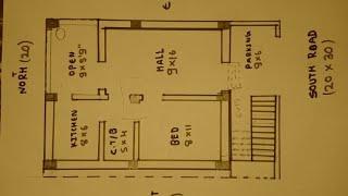 20 × 30 south face house plan map naksha