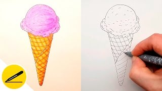 How to Draw a Ice Cream Cone Step by Step ✔