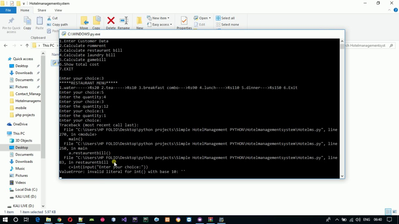 Hotel Management System Project in Python