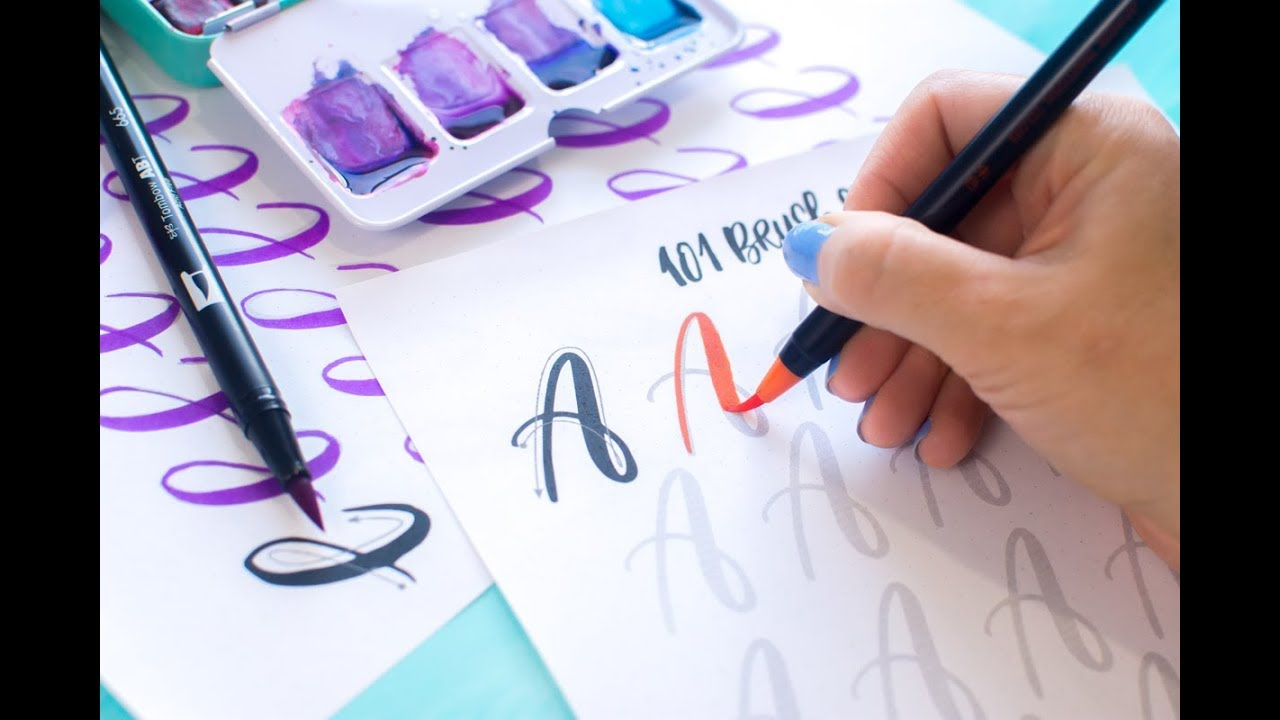 photograph relating to Printable Calligraphy Practice named Train your Lettering with 101 brush strokes printable worksheets.