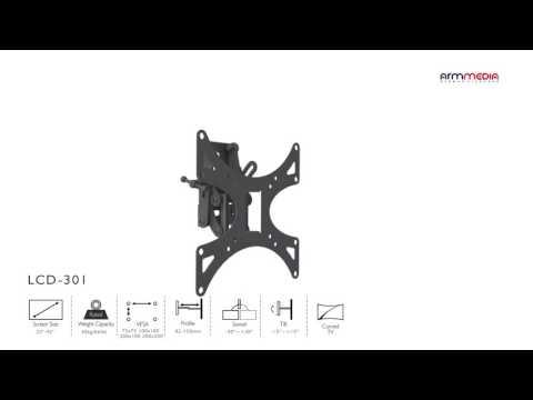 видео: Настенный кронштейн для led/lcd телевизоров arm media lcd-301 black