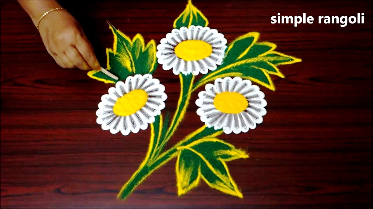 the gallery for gt easy rangoli designs with flowers petals