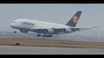 Airbus A380 каца на Летище София / Sofia Airport (LBSF ) Landing
