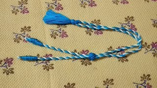 Double Colour Cotton Thread Necklace Back Rope Dori Making / Tutorial / DIY