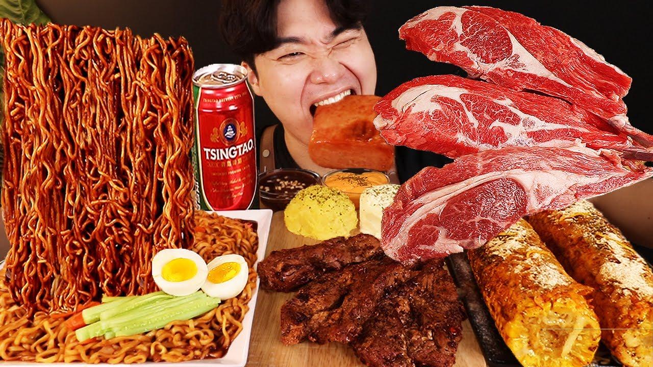 ASMR MUKBANG 짜파게티 & 치즈 통스팸 & 스테이크 BLACK BEAN NOODLES & STEAK & CHEESE SPAM EATING SOUND!