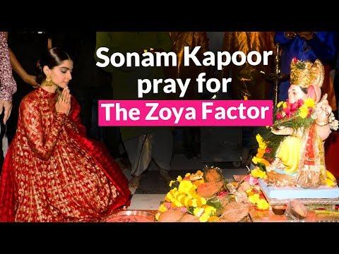 Sonam Kapoor looking beautiful in red suit seeks blessings of Ganesha before The Zoya Factor release