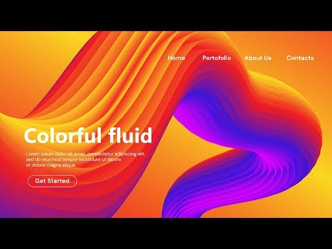 How to Make 3D Colorful Fluid Landing Page Design - Adobe Illustrator Tutorial thumbnail