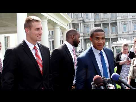 Urban Meyer, Jeff Heuerman, Evan Spencer and Curtis Grant Address White House Media