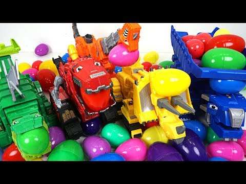 Egg bombs fell in the sky!! Transform Dinotrux surprise egg open play - DuDuPopTOY