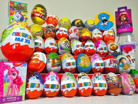 Видео, 40 Киндер Сюрпризов,Unboxing Kinder Surprise Barbie,Peppa Pig,Маша и Медведь,Giant KinderMaxi