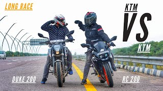 KTM RC 200 Vs KTM DUKE 200 Long Highway Race   Ksc Vlogs