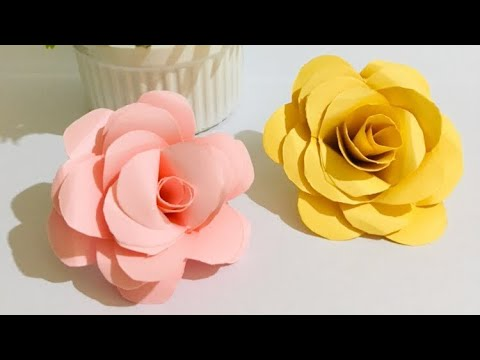How to make realistic and easy paper Roses full tutorial / paper making flowers step by step
