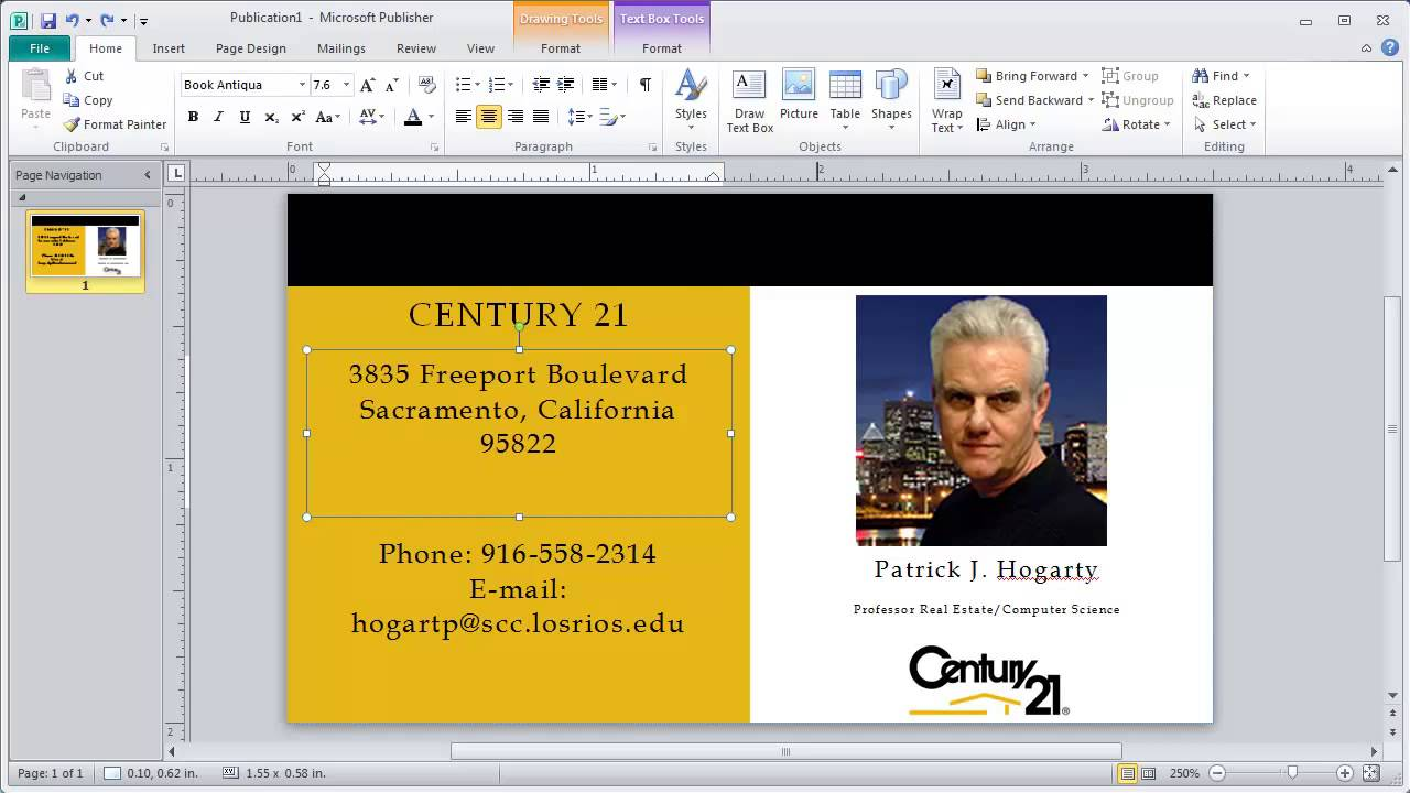 Business Card Final Edit Using Microsoft Publisher - YouTube