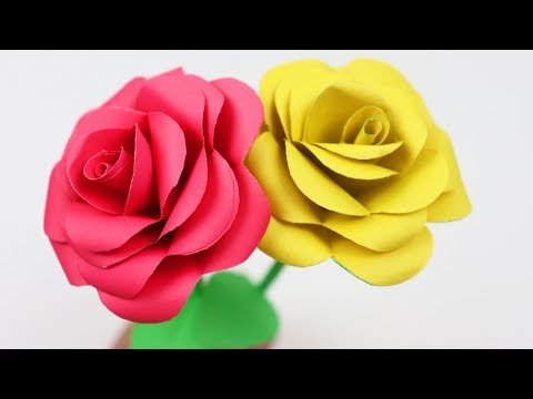 How to Make Very Easy and Simple Paper Rose!! Rosen aus Notizzetteln: Paper flowers #Ezzy-Crafts-DIY