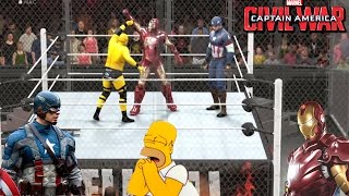WWE2K20: CIVIL WAR: Capitan America VS IronMan VS Homero simpson - (WWE Champ)