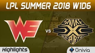 WE vs SS Highlights Game 1 LPL Summer 2018 W1D6 Team WE vs Snake Esports by Onivia