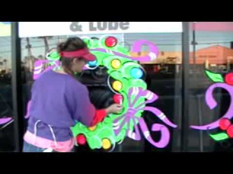 Holiday Christmas Window Painting Wreath Artist Kim Cooper - YouTube