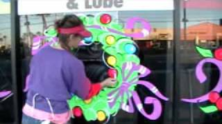 Holiday Christmas Window Painting Wreath Artist Kim Cooper