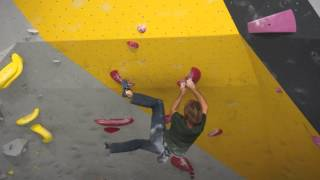 Chris Sharma and Alex Puccio climb the Red Problem at the ProLo Event at Momentum Lehi