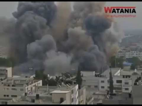 Extermination of a nation - israeli warplanes attacked the Palestinian buildings in Gaza 2014