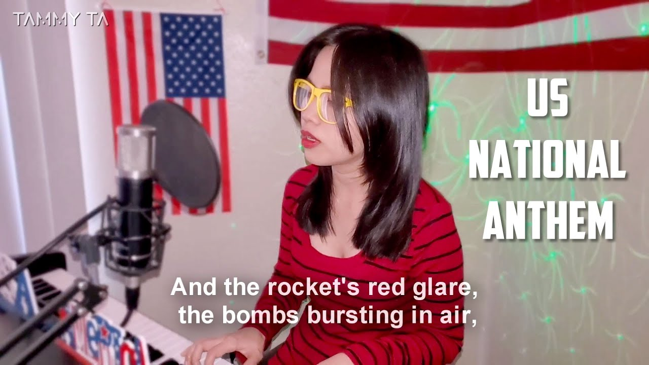 Star Spangled Banner   US National Anthem with Lyrics, Vocals   Piano Cover by Tammy Ta