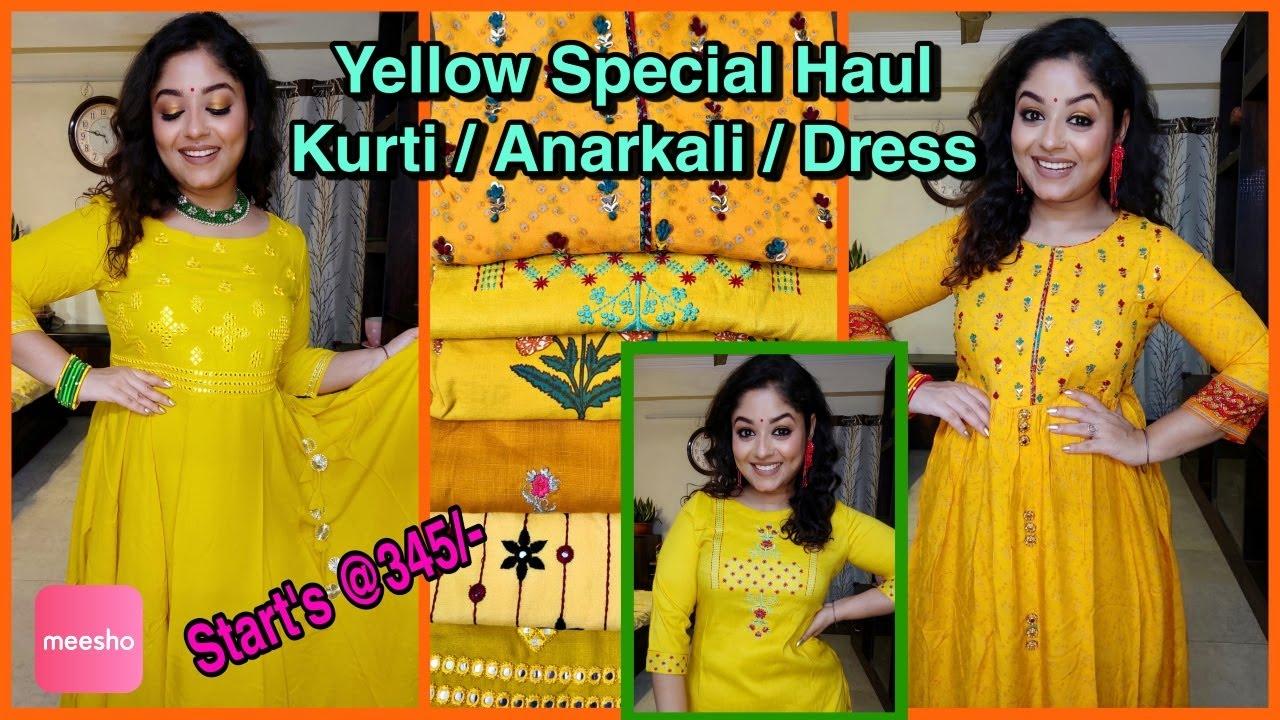 💛Meesho💛Haldi Kurti Special Starts @345/-💛Meesho Haul💛Festival Anarkali Kurtis /Dress💛Vaishali