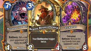 Brann + Mutanus & Tickatus = Game Over!  Warlock Is Nuts! Barrens Mini-Set Wild   Hearthstone