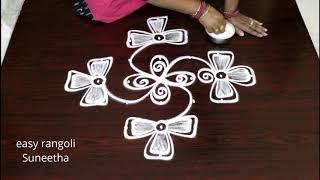 Easy rangoli muggulu || simple designs by Suneetha || latest kolam with dots