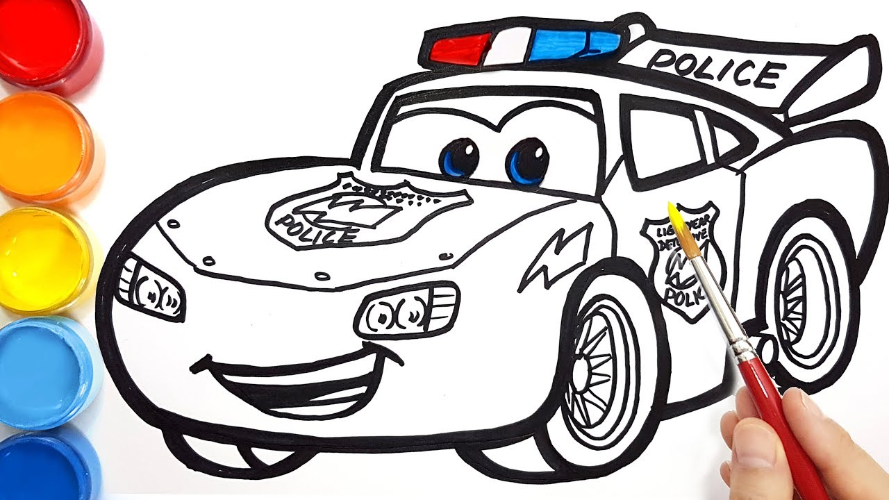 Draw A Police Car Lightning Mcqueen For Kids Cars Coloring Pages Easy Painting Youtube
