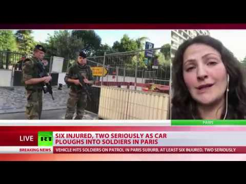 6 injured as car ploughs into soldiers in Paris