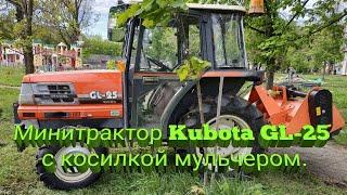 ✔️Минитрактор Kubota GL-25 с косилкой мульчером в работе