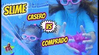 SLIME DEBAJO DEL AGUA !! SLIME COMPRADO VS CASERO EN EL AGUA