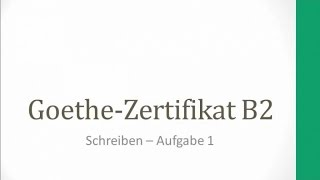 Goethe Zertifikat B2 Schreiben Aufgabe 1 Patchwork Familie